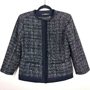 Tahari Tweed Hidden Button Blazer Career Jacket
